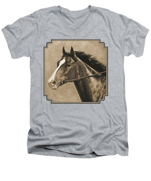 Racehorse Painting In Sepia Men's V-Neck T-Shirt by Crista Forest