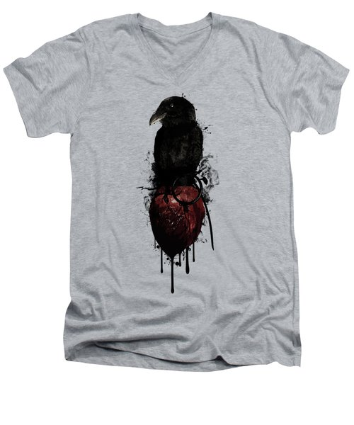 Raven And Heart Grenade Men's V-Neck T-Shirt by Nicklas Gustafsson