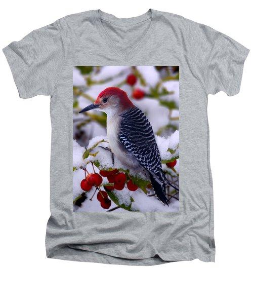 Red Bellied Woodpecker Men's V-Neck T-Shirt by Ron Jones