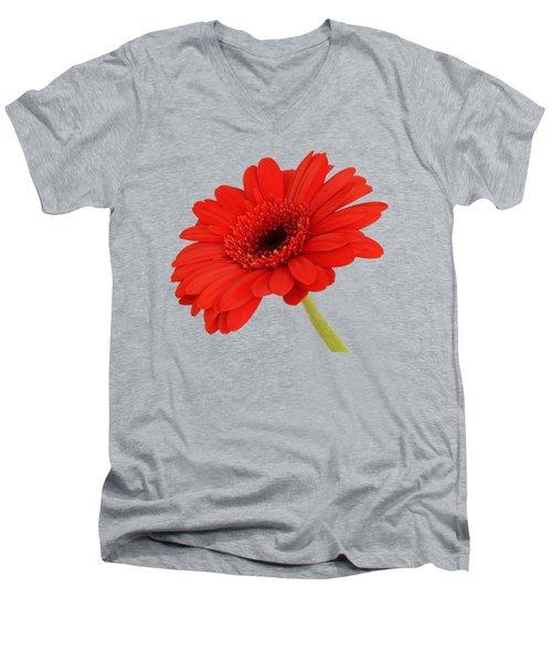 Red Gerbera Daisy 2 Men's V-Neck T-Shirt by Scott Carruthers
