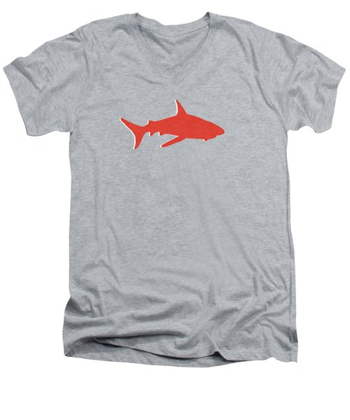 Red Shark Men's V-Neck T-Shirt by Linda Woods