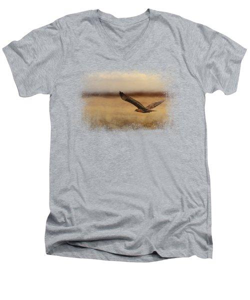 Redtail In The Field Men's V-Neck T-Shirt by Jai Johnson
