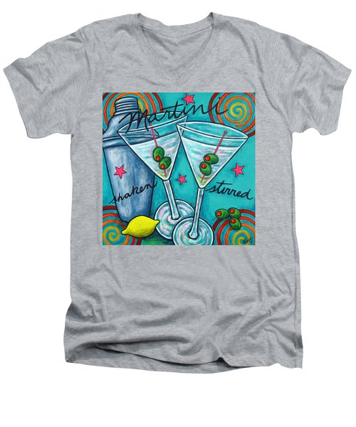 Retro Martini Men's V-Neck T-Shirt by Lisa  Lorenz
