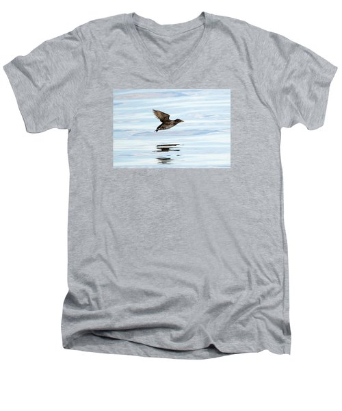 Rhinoceros Auklet Reflection Men's V-Neck T-Shirt by Mike Dawson