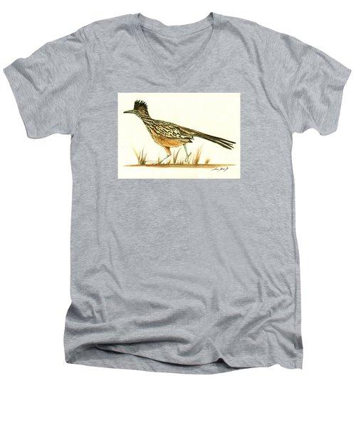 Roadrunner Bird Men's V-Neck T-Shirt by Juan Bosco