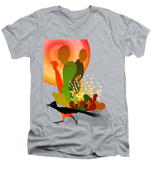 Roadrunner Sunrise Men's V-Neck T-Shirt by Methune Hively