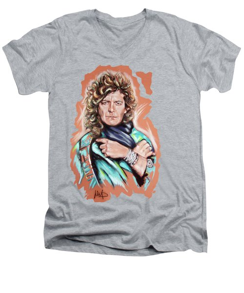 Robert Plant Men's V-Neck T-Shirt by Melanie D