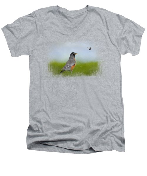 Robin In The Field Men's V-Neck T-Shirt by Jai Johnson