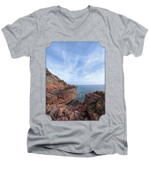 Rocky Ocean Inlet - Jersey Men's V-Neck T-Shirt by Gill Billington