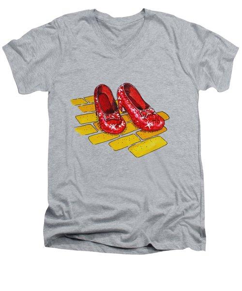 Ruby Slippers Wizard Of Oz Men's V-Neck T-Shirt by Irina Sztukowski