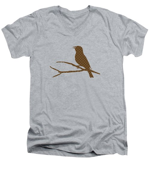 Rustic Brown Bird Silhouette Men's V-Neck T-Shirt by Christina Rollo