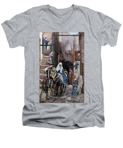 Saint Joseph Seeks Lodging In Bethlehem Men's V-Neck T-Shirt by Tissot