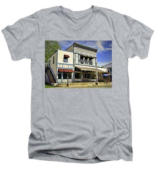 Samuel Hackmann Building Men's V-Neck T-Shirt by Cricket Hackmann