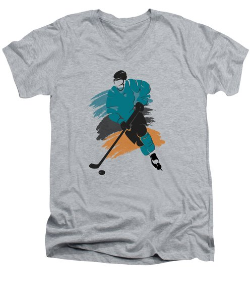 San Jose Sharks Player Shirt Men's V-Neck T-Shirt by Joe Hamilton