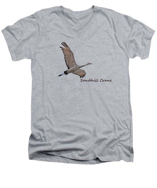 Sandhill Crane In Flight Men's V-Neck T-Shirt by Whispering Peaks Photography