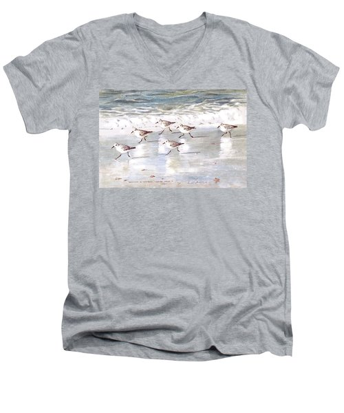 Sandpipers On Siesta Key Men's V-Neck T-Shirt by Shawn McLoughlin