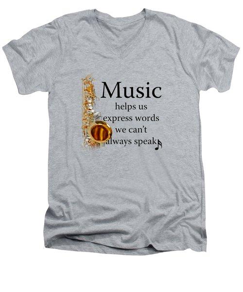 Saxophones Express Words Men's V-Neck T-Shirt by M K  Miller
