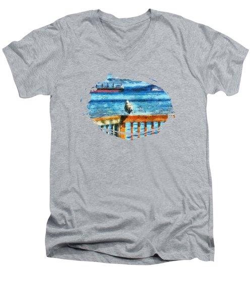 Seagull In Astoria  Men's V-Neck T-Shirt by Thom Zehrfeld
