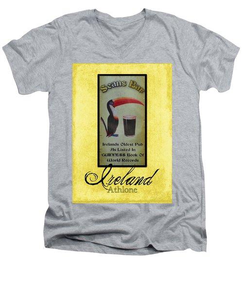 Seans Bar Guinness Pub Sign Athlone Ireland Men's V-Neck T-Shirt by Teresa Mucha