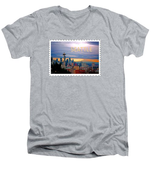 Seattle At Sunset Text Seattle Men's V-Neck T-Shirt by Elaine Plesser