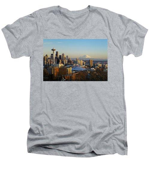 Seattle Cityscape Men's V-Neck T-Shirt by Greg Vaughn - Printscapes