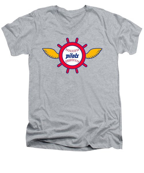 Seattle Pilots Retro Logo Men's V-Neck T-Shirt by Spencer McKain