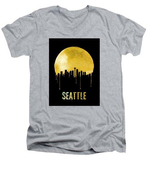 Seattle Skyline Yellow Men's V-Neck T-Shirt by Naxart Studio