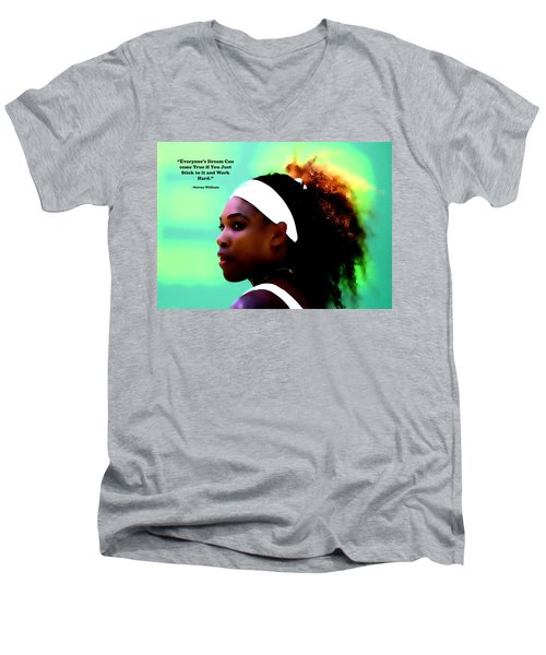 Serena Williams Motivational Quote 1a Men's V-Neck T-Shirt by Brian Reaves