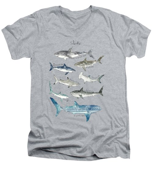 Sharks Men's V-Neck T-Shirt by Amy Hamilton