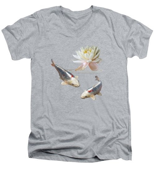 Silver And Red Koi With Water Lily Men's V-Neck T-Shirt by Gill Billington