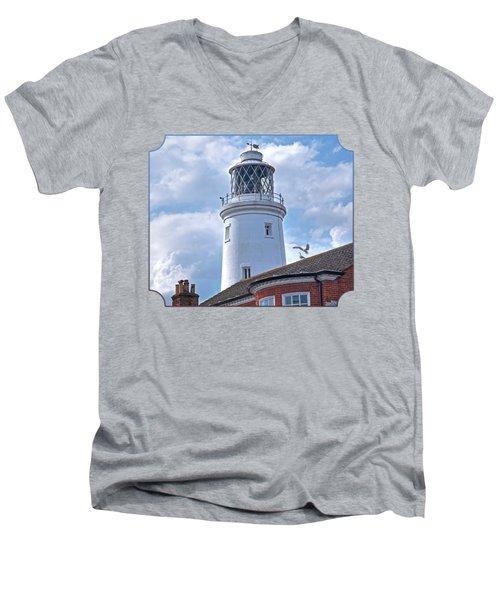 Sky High - Southwold Lighthouse Men's V-Neck T-Shirt by Gill Billington