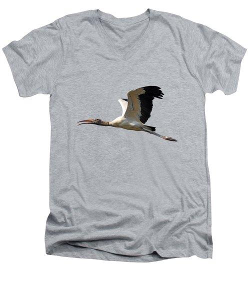 Sky Stork Digital Art .png Men's V-Neck T-Shirt by Al Powell Photography USA