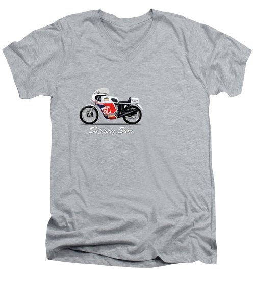 Slippery Sam Production Racer Men's V-Neck T-Shirt by Mark Rogan