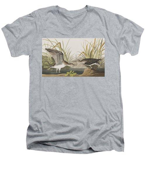 Solitary Sandpiper Men's V-Neck T-Shirt by John James Audubon