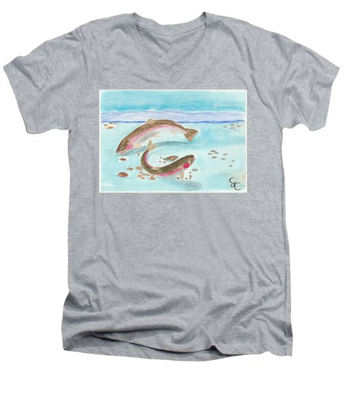 Spawning Rainbows Men's V-Neck T-Shirt by Gareth Coombs