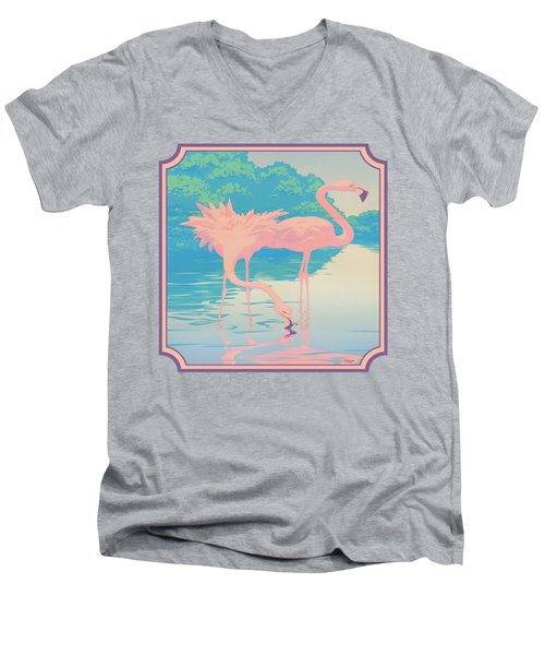 Square Format - Pink Flamingos Retro Pop Art Nouveau Tropical Bird 80s 1980s Florida Painting Print Men's V-Neck T-Shirt by Walt Curlee