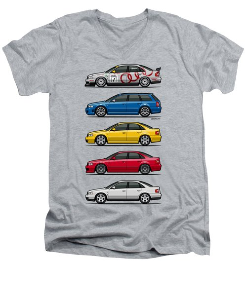 Stack Of Audi A4 B5 Type 8d Men's V-Neck T-Shirt by Monkey Crisis On Mars