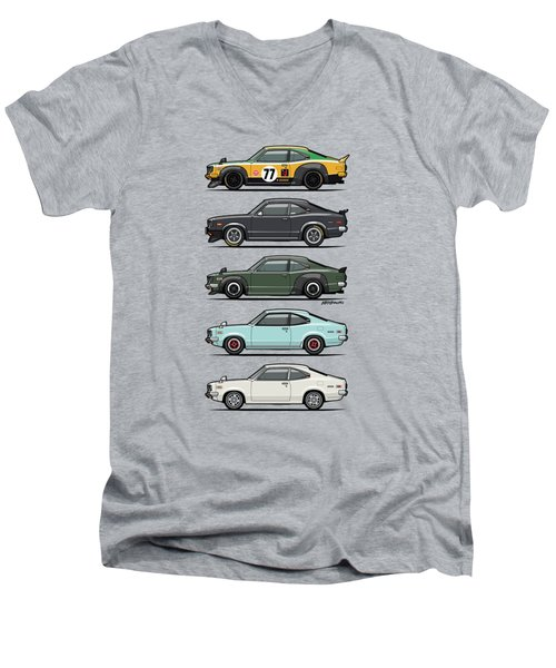 Stack Of Mazda Savanna Gt Rx-3 Coupes Men's V-Neck T-Shirt by Monkey Crisis On Mars