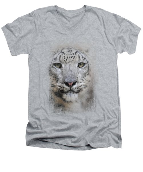 Stare Of The Snow Leopard Men's V-Neck T-Shirt by Jai Johnson