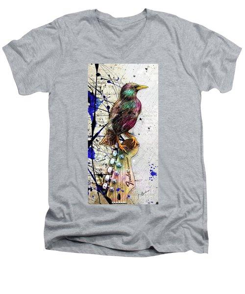 Starling On A Strat Men's V-Neck T-Shirt by Gary Bodnar
