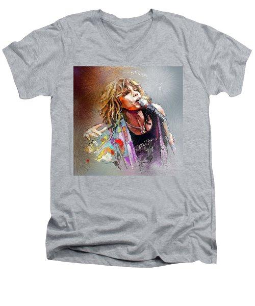 Steven Tyler 02  Aerosmith Men's V-Neck T-Shirt by Miki De Goodaboom