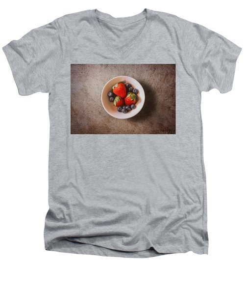 Strawberries And Blueberries Men's V-Neck T-Shirt by Scott Norris
