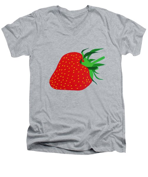 Strawberry Pop Remix Men's V-Neck T-Shirt by Oliver Johnston