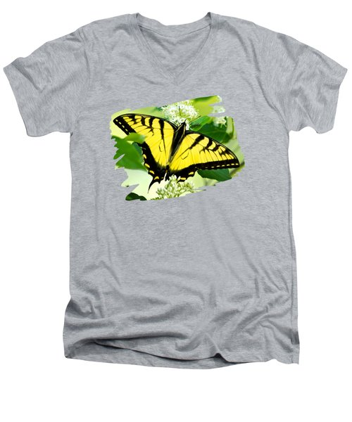 Swallowtail Butterfly Feeding On Flowers Men's V-Neck T-Shirt by Christina Rollo