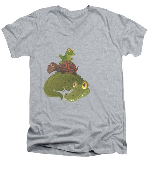 Swamp Squad Men's V-Neck T-Shirt by John Schwegel