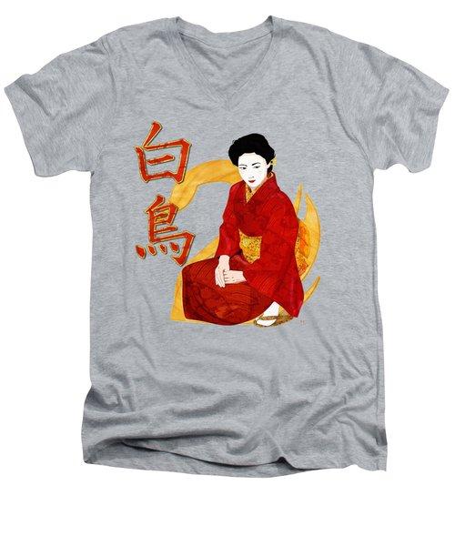 Swan Japanese Geisha Men's V-Neck T-Shirt by Sharon and Renee Lozen