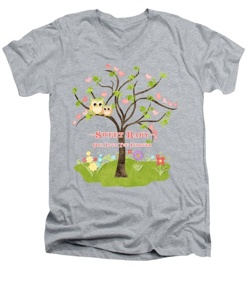 Sweet Baby - Owl Love You Forever Nursery Men's V-Neck T-Shirt by Audrey Jeanne Roberts