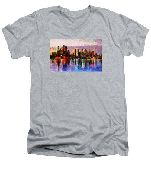 Sydney Here I Come Men's V-Neck T-Shirt by Sir Josef Social Critic - ART
