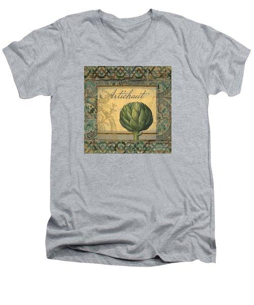 Tavolo, Italian Table, Artichoke Men's V-Neck T-Shirt by Mindy Sommers