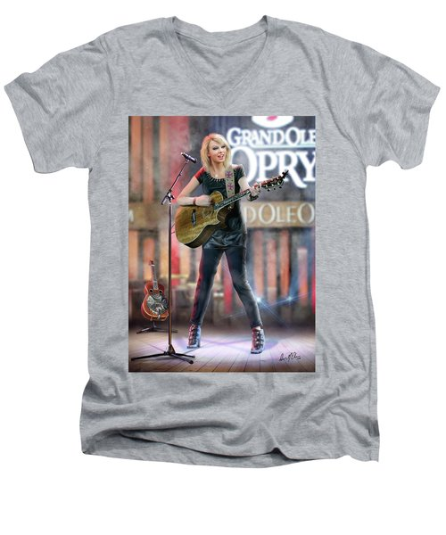 Taylor At The Opry Men's V-Neck T-Shirt by Don Olea